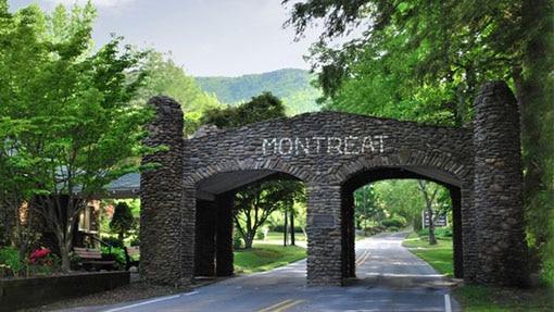 Stone bridge entrance to Montreat center